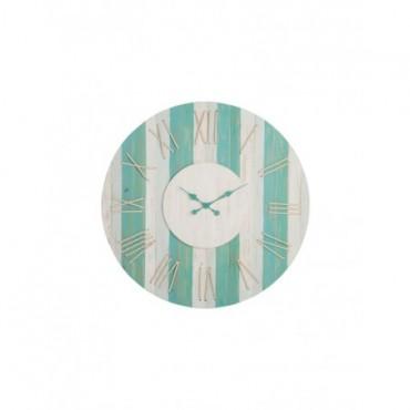 Horloge Chiffres Romains Corde Jute Bois Azur Blanc Large