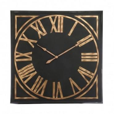 Horloge Carree Chiffres Romains Metal Noir Marron