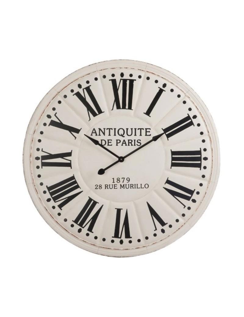 Horloge Antiquite De Paris Chiffres Romains Metal Blanc Noir