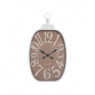 Horloge Chiffres Rectangulaire Metal Blanc Jute