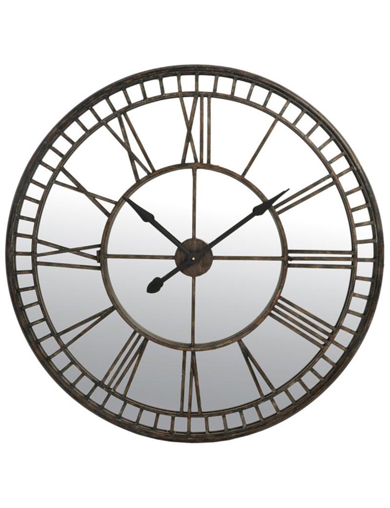 Horloge Chiffres Romains Miroir Metal Brun