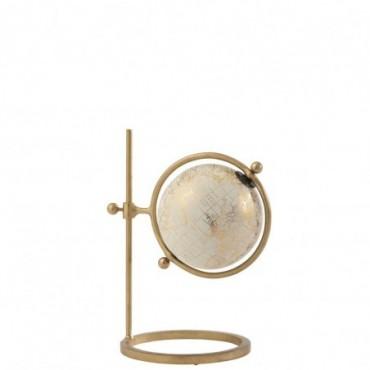 Globe Cercle Ajustable Métal-Plastique Or-Blanc S
