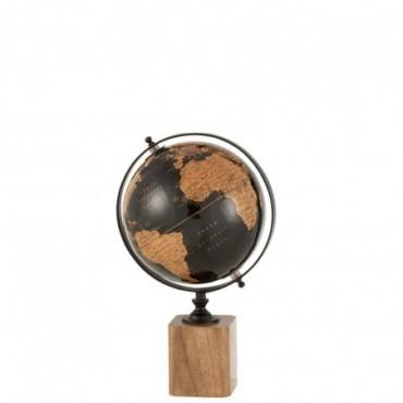 Globe sur pied Bois Noir-Marron M