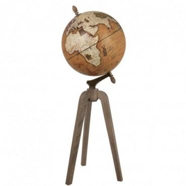Globe sur pied Bois Rouille Extra L