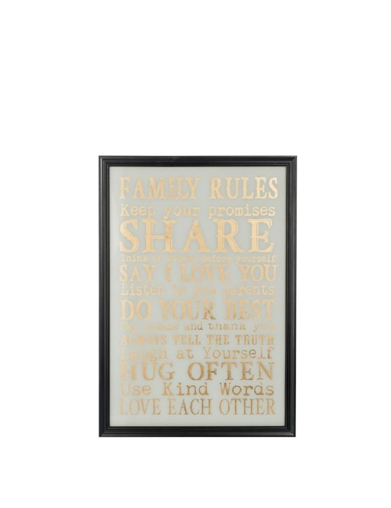 Plaque Family Rules Blanc Or Noir