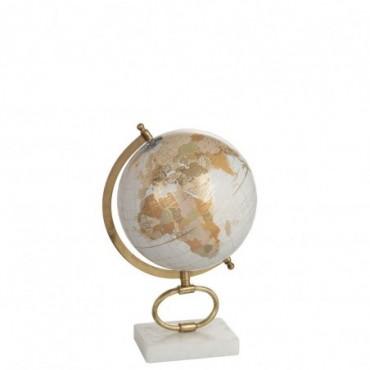 Globe sur pied Marbre Blanc-Métal Or M