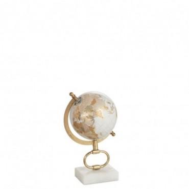 Globe sur pied Marbre Blanc-Métal Or S