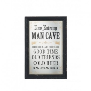 Plaque Man Cave Rules Verre Noir Or