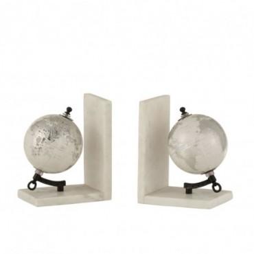 Serre-Livre Globe Marbre Blanc-Argent-Noir