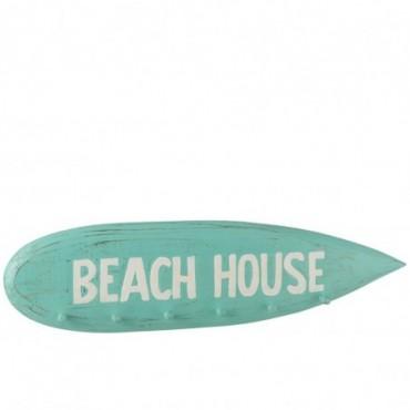 Portemanteau Planche de Surf Beach House Bois Albasia Azur