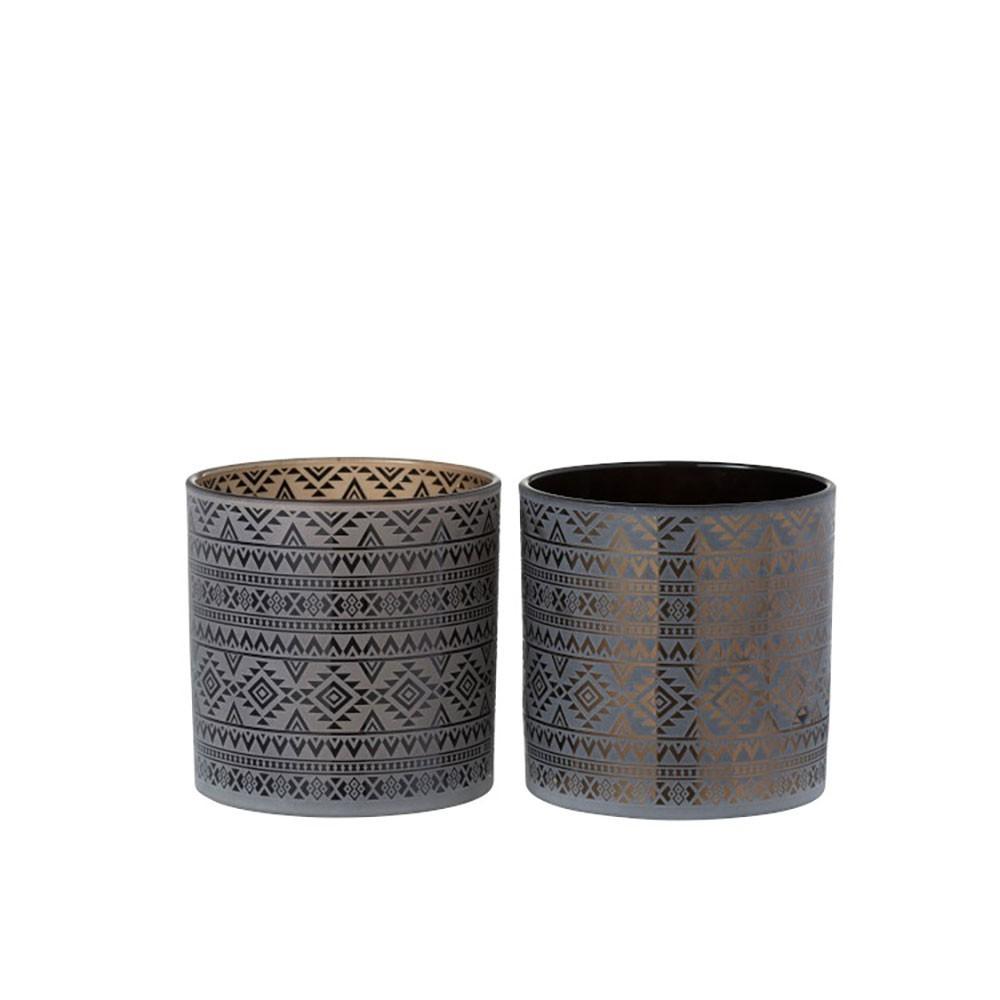 Photophore Geometrique Verre Marron/Noir Medium (Assortiment de 2)