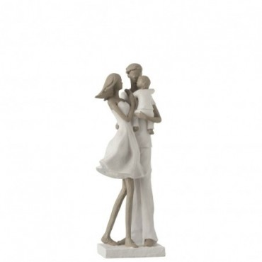 Couple + Enfant Résine Blanc-Taupe
