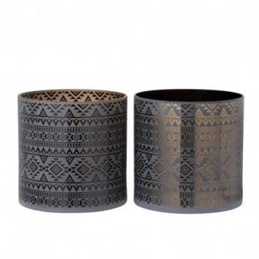Photophore Geometrique Verre Marron/Noir Large (Assortiment de 2)