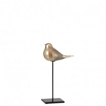 Oiseau + Pied Verre-Métal Ambre S