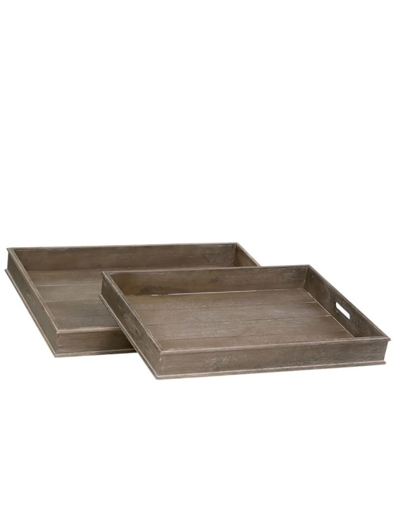 Set 2 Plateau bois gris W