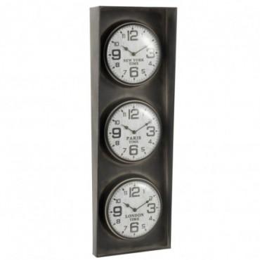 Horloge 3 Villes New York-Paris-Londres Métal Noir