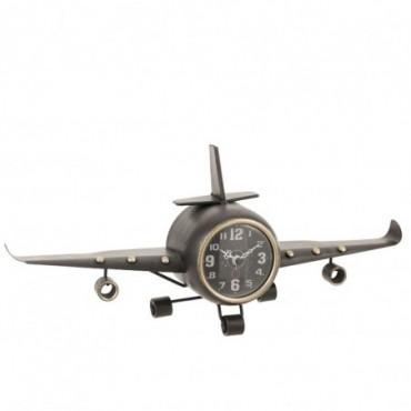 Horloge Avion Métal Antique Gris-Or