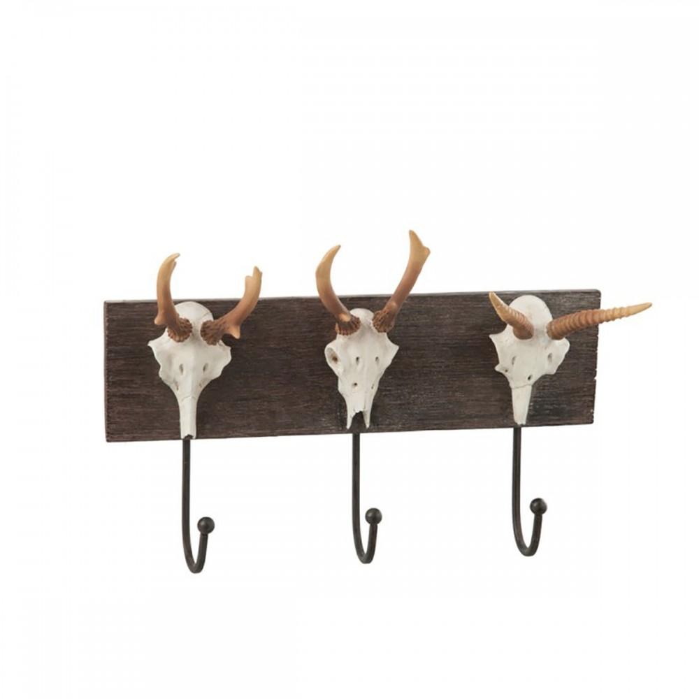 Porte-manteau Crane 3 Crochets Resine Marron