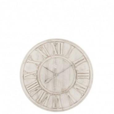 Horloge Chiffres Romains bois Blanc L