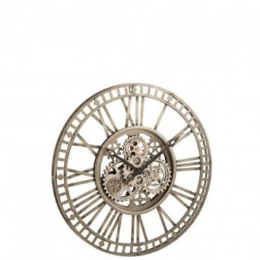 Horloge Chiffres Romains Mecanisme Apparent Métal Antique Gris