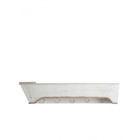Porte-manteau 5 Crochets Planche Bateau Bois Blanc