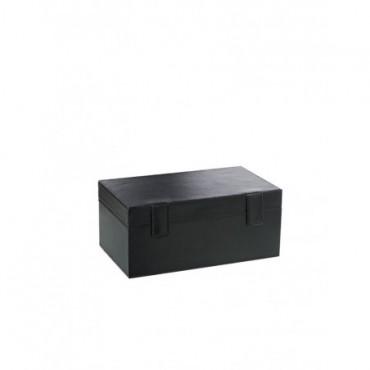 Coffre 2 Bouteilles + Set Poker cuir Noir