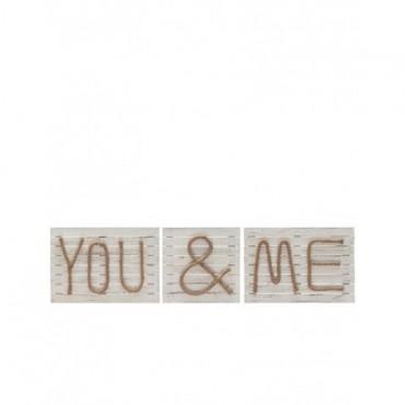 Pancarte You & Me bois naturel Jute