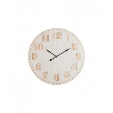 Horloge Chiffres Bois Blanc Naturel
