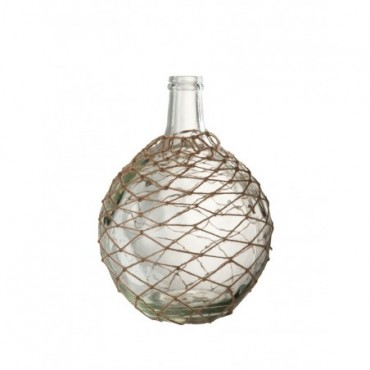 Vase Boule Filet Verre Corde Transparent Jute