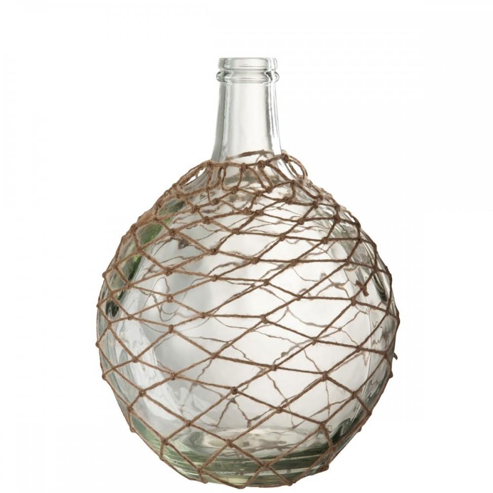 Vase Boule Filet Verre Corde Transparent Jute