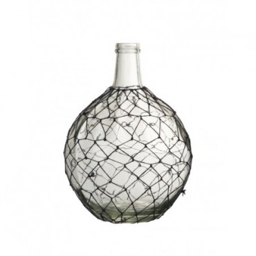 Vase Boule Filet Verre Corde Transparent Bleu