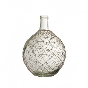 Vase Boule Filet Verre Corde Transparent Blanc