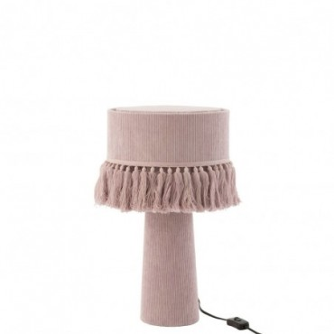 Lampe Eve ronde Velours Coton Rose