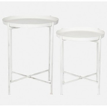 Set De 2 Table Gigogne Metal Blanc