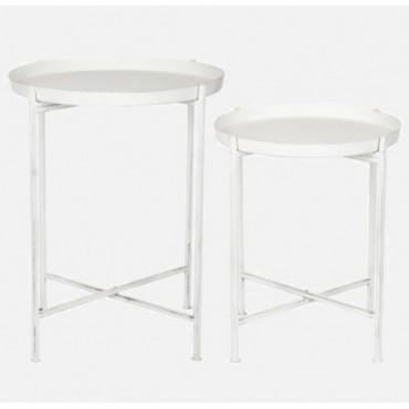 Set De 2 Table Gigogne Metal Blanc