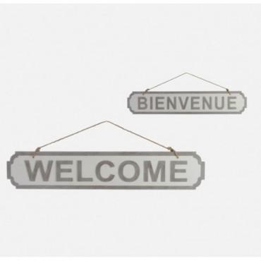Plaque Welcome/Bienvenue Bois Gris