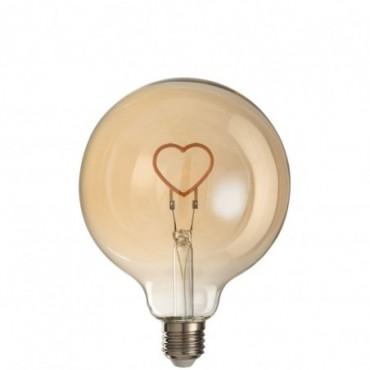Ampoule Led Coeur Verre Jaune-Or E27