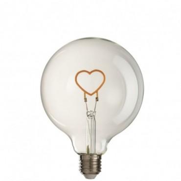Ampoule Led Coeur Verre Jaune-Transparent E27