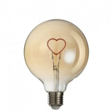 Ampoule Led Coeur Verre Rose-Or E27