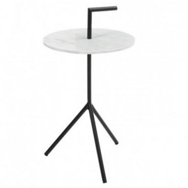 Table Gigogne 3 Pieds Marbre Metal Noir
