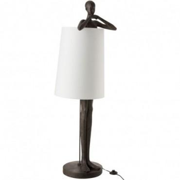 Lampe Homme Résine Marron-Blanc