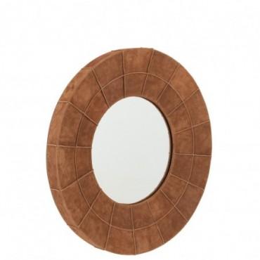 Miroir Bord Rond Cuir Cognac