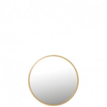 Miroir Mona Rond Métal-Verre Or L