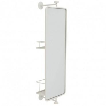 Miroir Mural + Etagere rectangulaire Verre-Métal Blanc