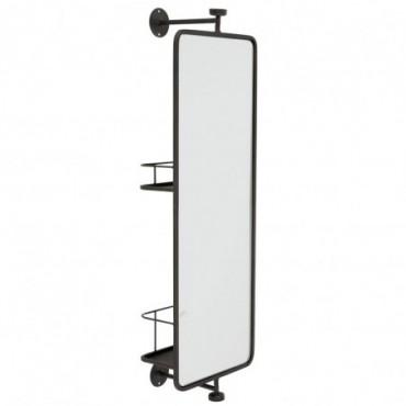 Miroir Mural + Etagere rectangulaire Verre-Métal Noir