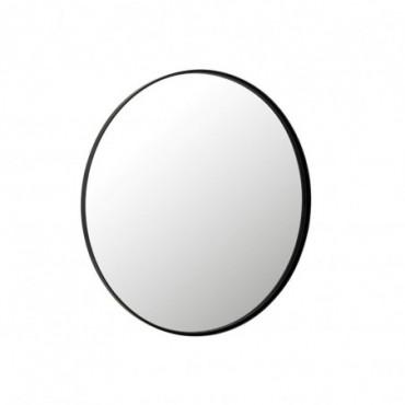Miroir Rond Bord Haut Métal-Verre Noir L