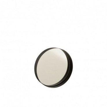 Miroir Rond Bord Métal Noir S