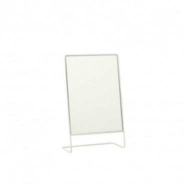 Miroir sur pied rectangulaire Verre-Métal Blanc