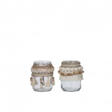 Photophore Coquillages Verre Beige Small (Assortiment de 2)