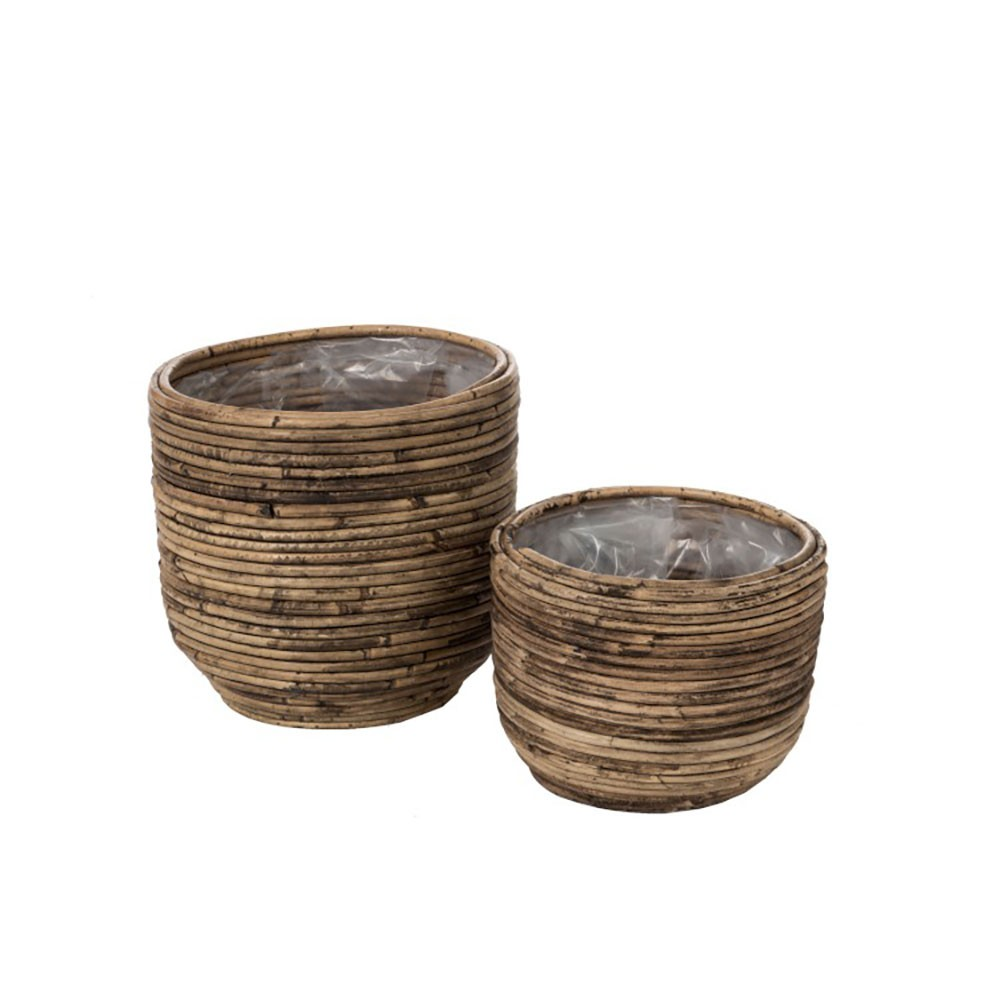 Set De 2 Cachepots Rond Rotin Naturel